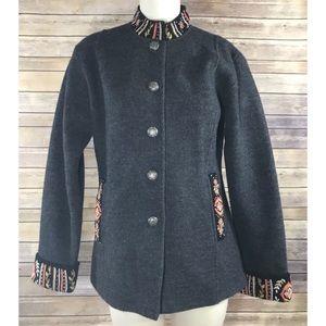 Icelandic Design grey embroidered wool jacket, L